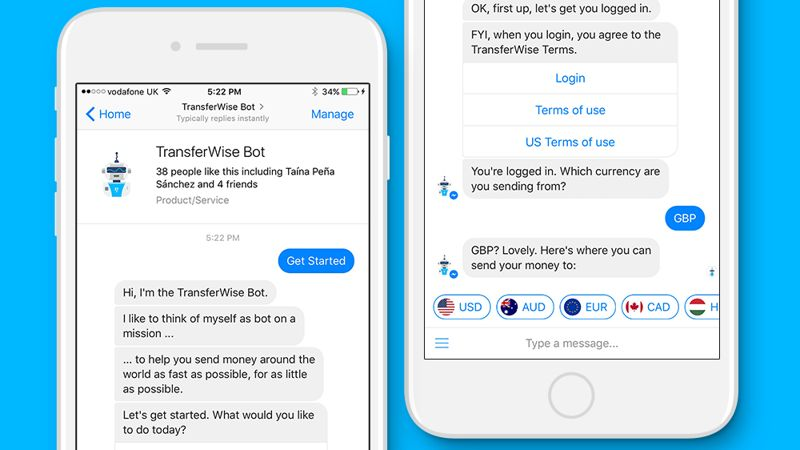 TransferWise Bot on iPhone