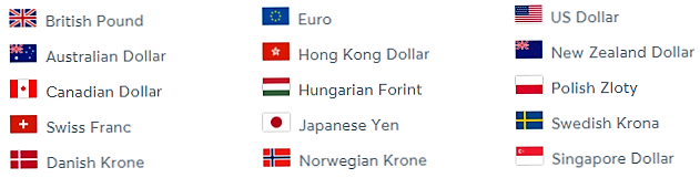 Currencies available on Borderless account
